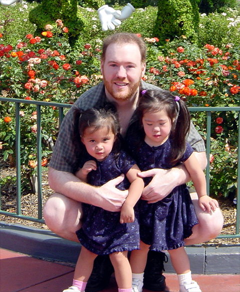Robert Stanek and his daughters