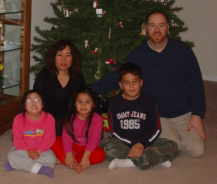 Robert Stanek and his family at Christmas